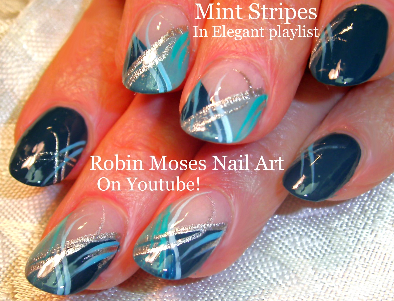 Robin moses nail art mintmani and announcement of brush winners nail art tutorial diy mint mani nails silver and teal nail design prinsesfo Image collections