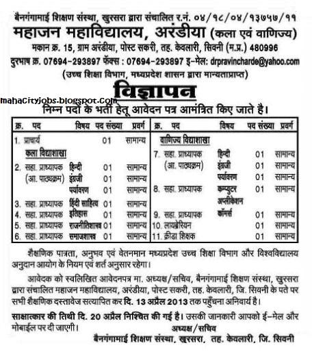 Mahajan Mahavidyalaya Arandiya MP Job Vacancy 2013