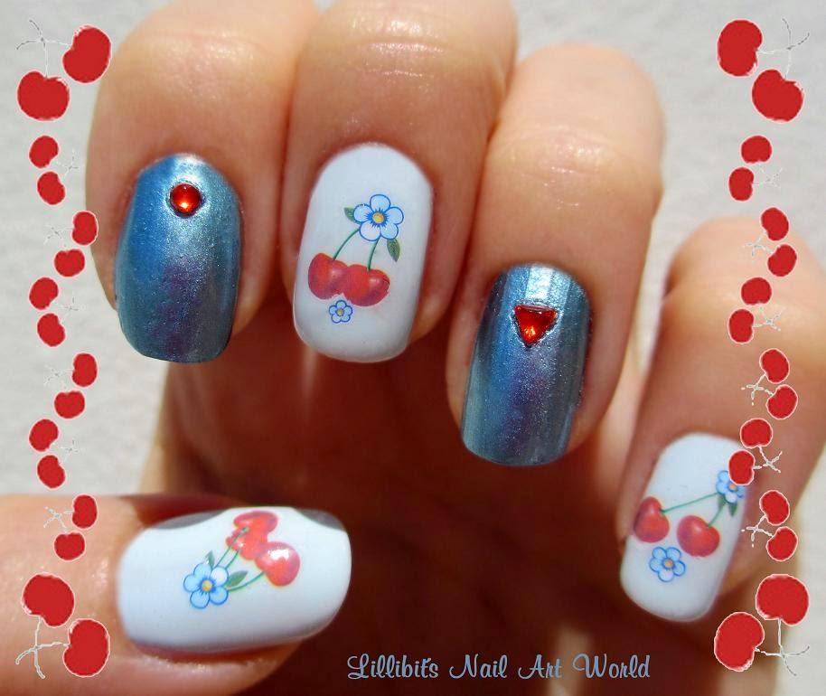 Lillibit s nail art world cerezas y flores kkcenterhk - Pintaunas kiko efecto espejo ...