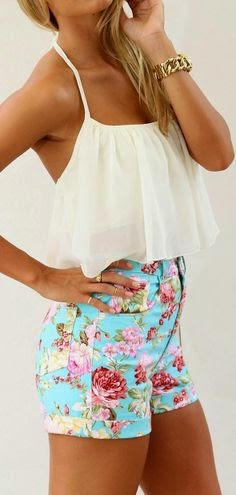 Floral shirts and white blouse. Hot Summer Combination. Floral short and pale yellow halter style top. Summer outfits