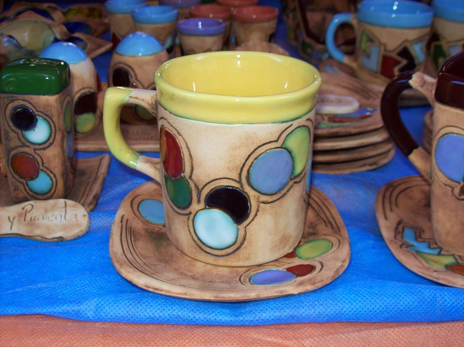 Juegos de tazas con bandeja ceramica artesanal melipal for Juego de tazas de te