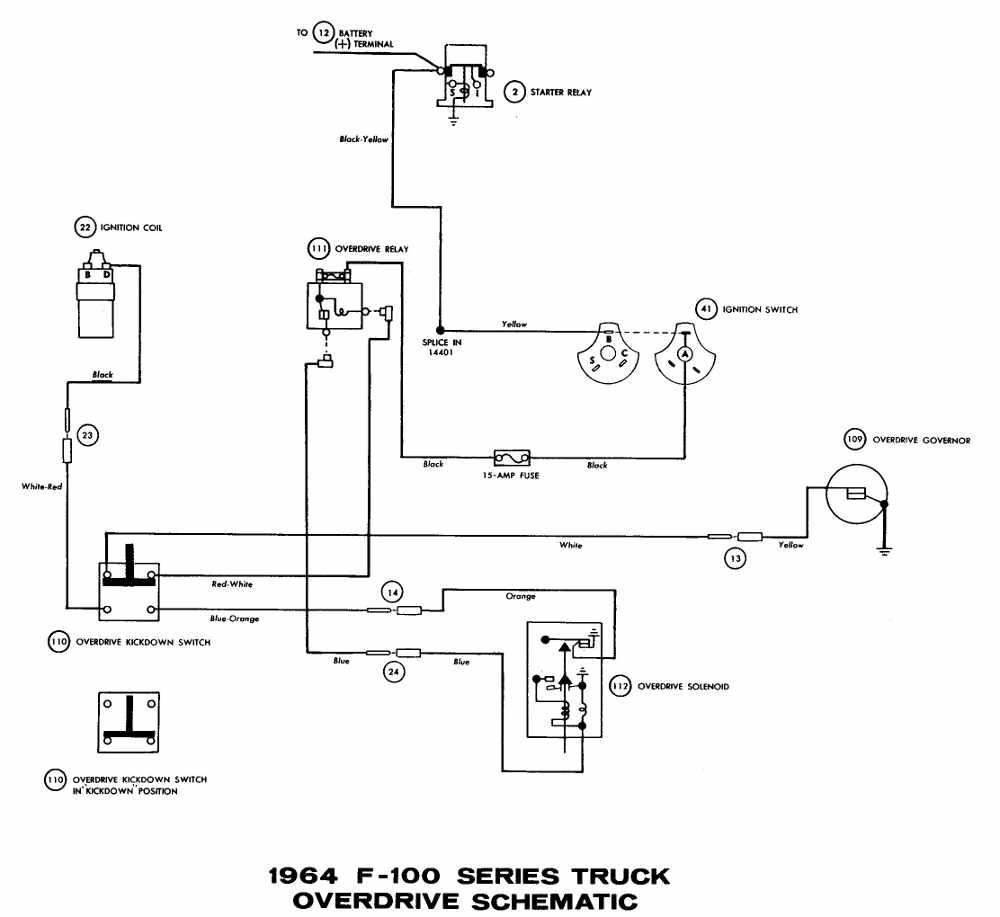 Ford+F 100+Truck+1964+Overdrive+Wiring+Diagram chevy truck underhood wiring diagrams chuck's chevy truck pages 55 chevy ignition wiring at bayanpartner.co