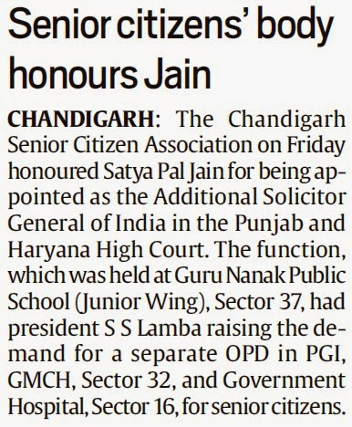 Senior citizens' body honours Jain