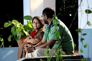 lal and navya nair during the scene
