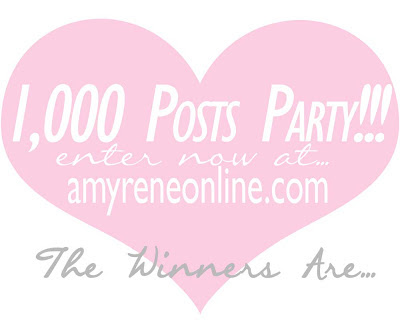One thousand post party giveaway winners button