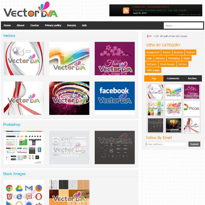 Vector Responsive Blogger Template cho trang chia sẻ hình ảnh