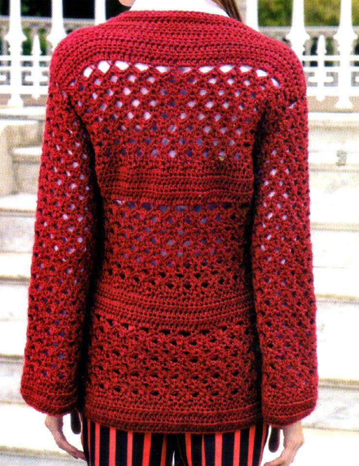 saco artesanal tejido en crochet atras