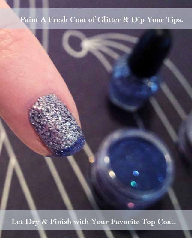 Eyeshadow French Tips with DIY glitter nail polish | ...love Maegan