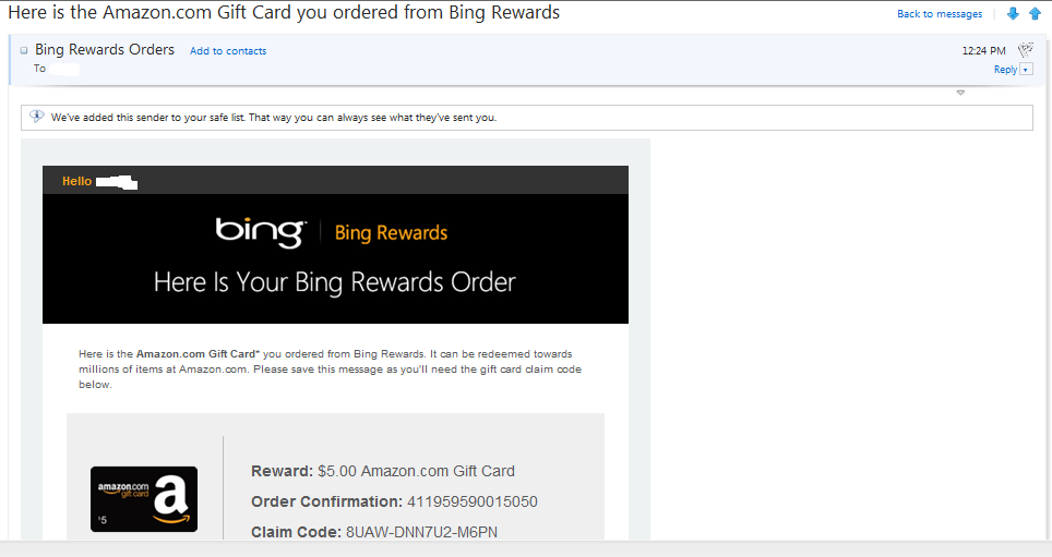 Bing Rewards (amazon gift card emailed)