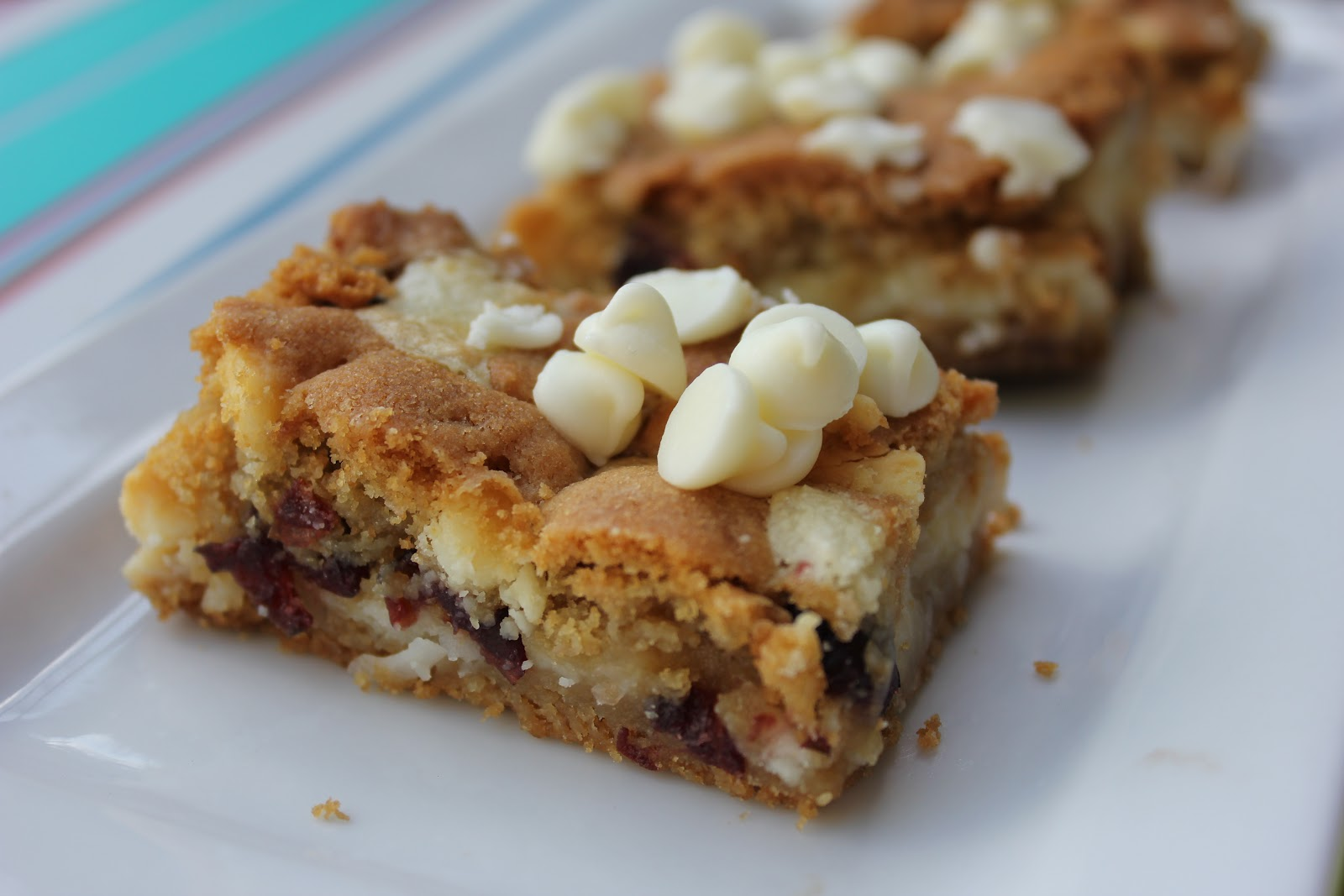 Cheesecake Cookie Bars--Cranberry White Chocolate Style
