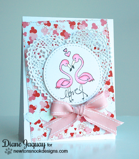 Pink Flamingo Card by Diane Jaquay | Flirty Flamingos Stamp set | Newton's Nook Designs