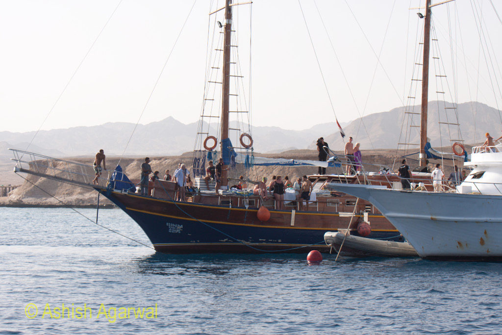 Ships with a number of tourists at the Sharm el Sheikh harbour in Egypt