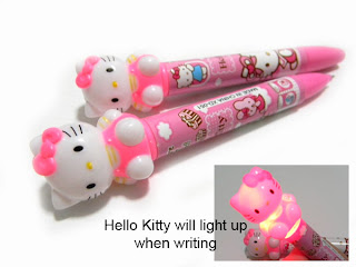 Hello Kitty light up glowing pink ballpoint pen for school