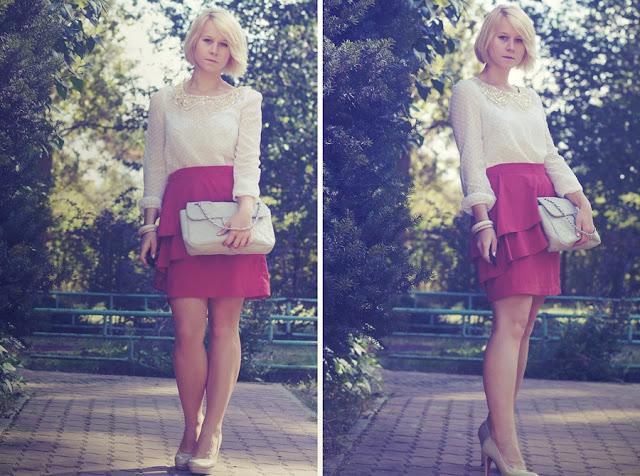 czerwona spódnica h&m