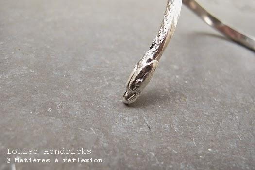 Louise Hendricks Bracelet jonc argenté serpent bijoux argent