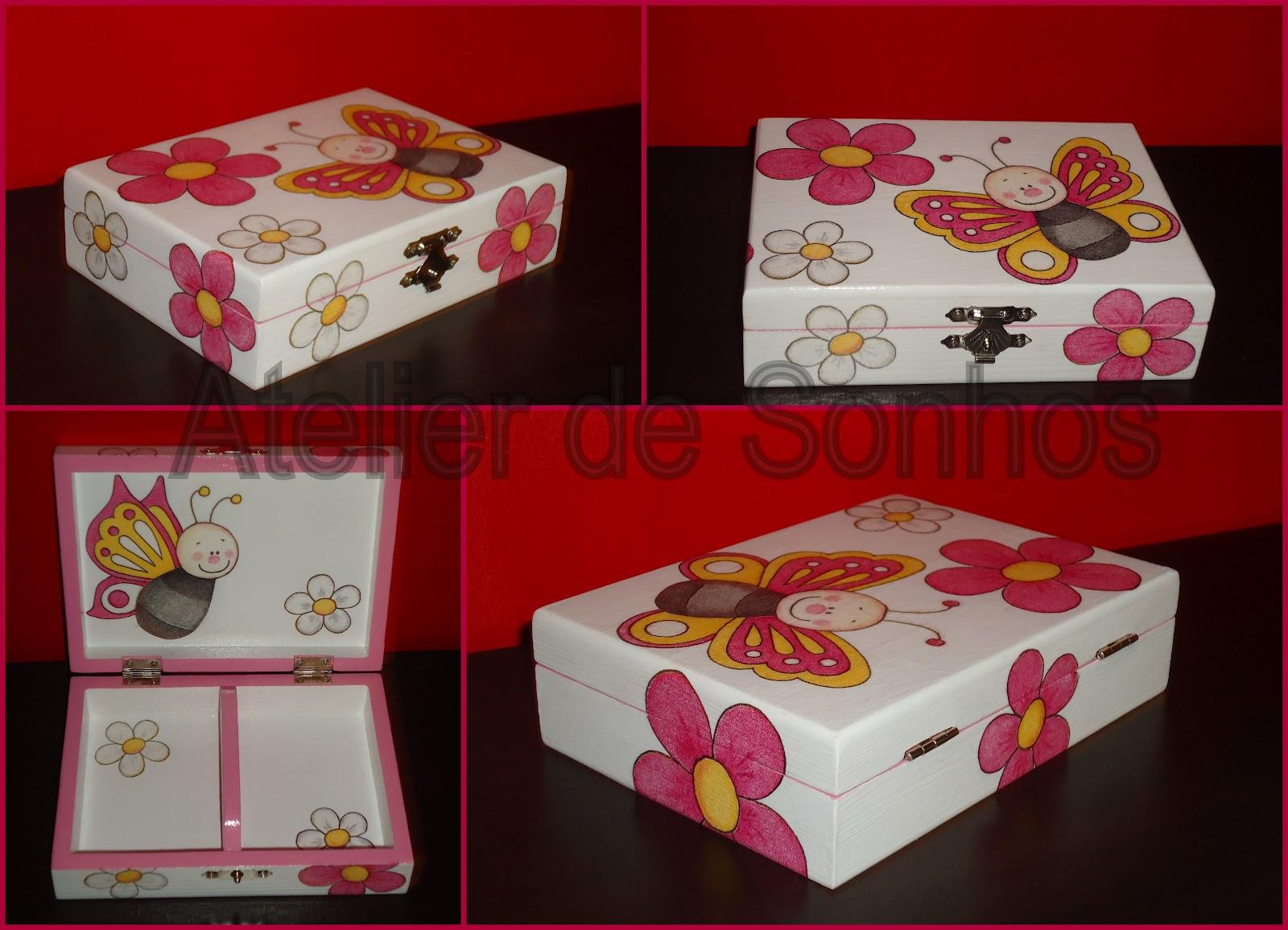 Mais uma caixa de madeira pintada à mão com aplicação de decoupage  #830C10 1600x1155