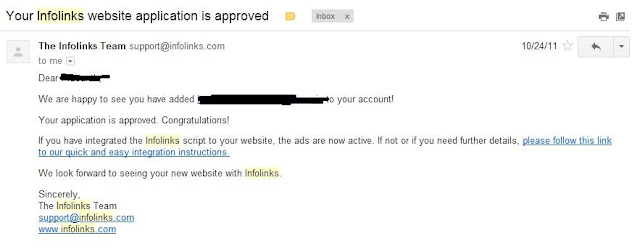 How to get Infolinks Approval