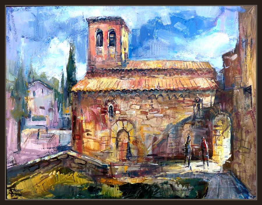 CASTELLNOU DE BAGES-PINTURA-SANTPEDOR-CATALUNYA-PAISATGES-ART-ROMANIC-PINTOR-ERNEST DESCALS-