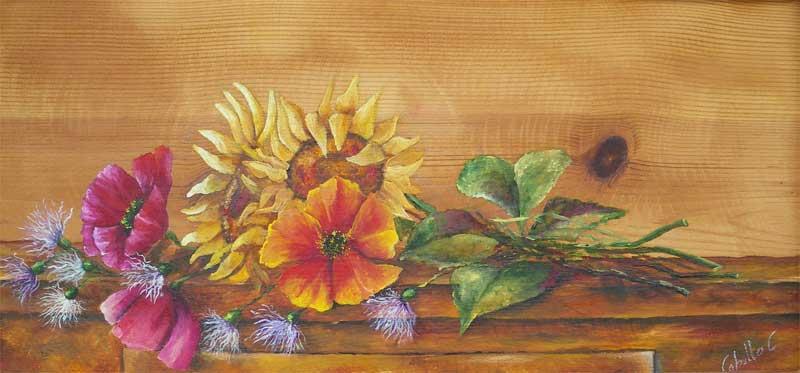 Dipinti su legno e su pietra for Immagini di fiori dipinti