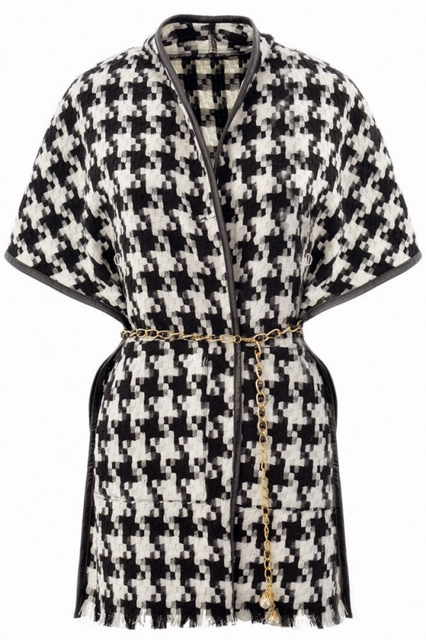 OASAP Black White Houndstooth Pattern PU-Trim Cape Coat