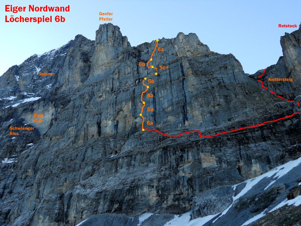 Klettersteig Eiger : Kletter eiger nordwand löcherspiel b