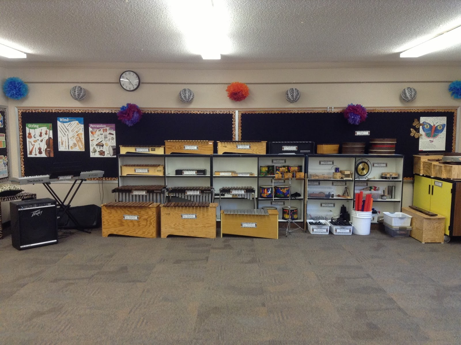 This Is The Wall Of My Classroom Where I Keep All Orff Instruments Unpitched Percussion And Piano