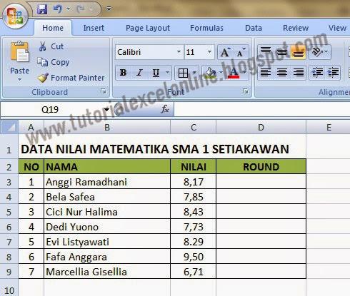 Daftar nilai siswa sebelum dibulatkan pada Excel