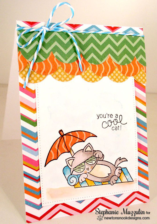 Summer Cat on Beach Card by Stephanie Muzzulin | Newton's Summer Vacation stamp set by Newton's Nook Designs