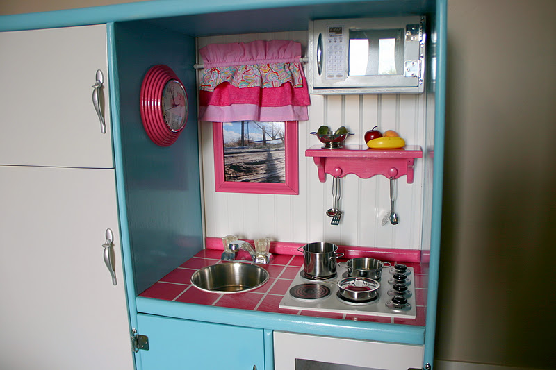 Doubletake Decor: Play Kitchen Made From An Old Entertainment Center
