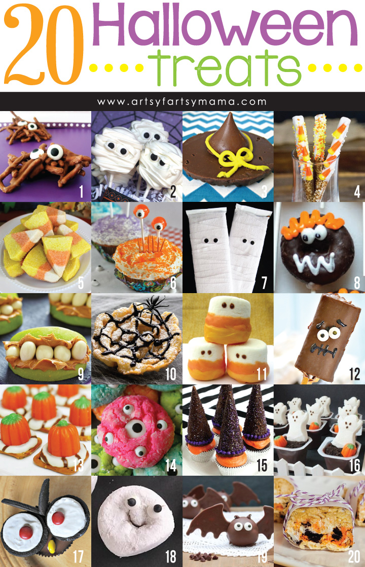 20 Halloween Treats at artsyfartsymama.com #Halloween #treats