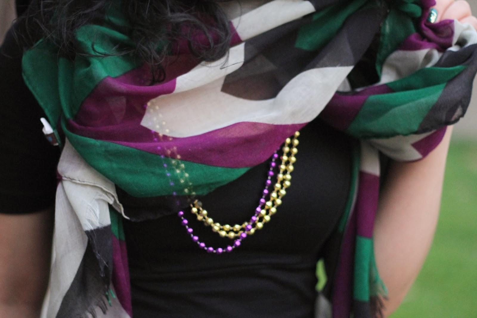 Mardi Gras Scarf and Beads