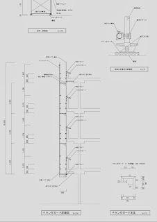 ベランダブラケット(ガード)を使用した足場 詳細図