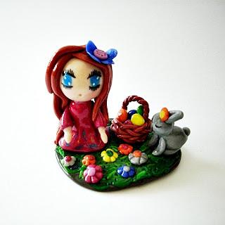 fimo, cernit, girl, polymer clay, figurine, sculpture