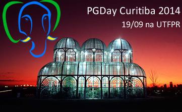Foto do Jardim Botânico de Curitiba, acima, o simbolo do PostgreSQL