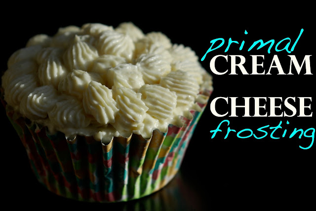 Primal cream cheese frosting on paleo carrot cake