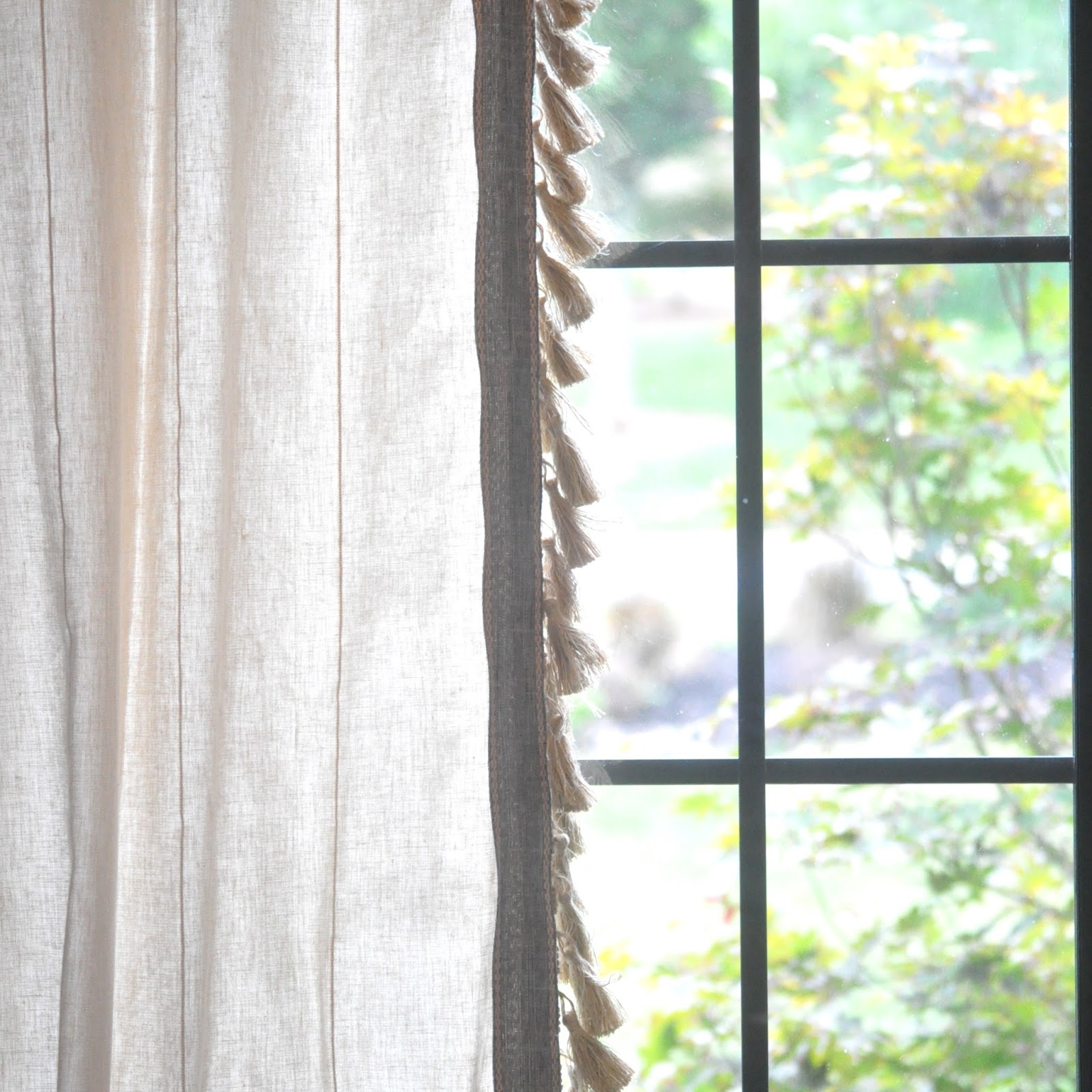 Anthro Inspired Jute Tassel Trim Curtains