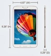 Dimensi Samsung Galaxy Tab 3 layar 8 inch