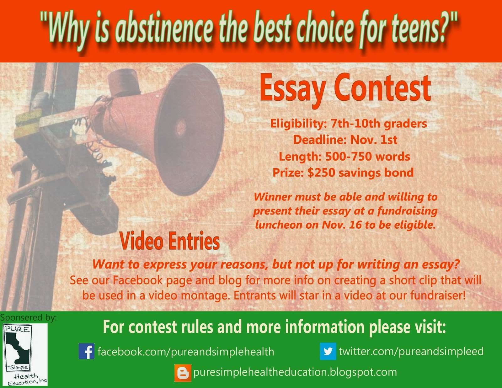 health essay contest Programs: essay contest the 2018 essay contest is now closed winners will be announced in early july on our web site about the contest.