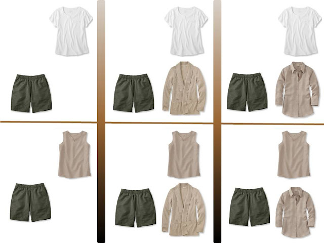 "Six outfits with olive shorts and ""Whatever's Clean"" tops"
