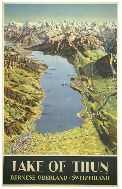 classic posters, free download, graphic design, retro prints, travel, travel posters, vintage, vintage posters, Lake of Thun, Bernese Oberland, Switzerland - Vintage Travel Poster