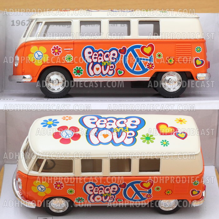 Miniatur VW Bus 1962 White Top Motif (Orange-32K)