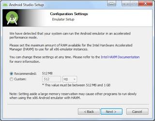 Penggunaan memori android studio disarankan sesuai dengan yang direkomendasikan aplikasi.