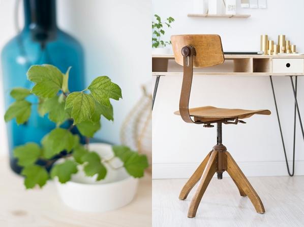 Goldener Schreibtisch Organizer: DIY Blaue Lampe: SELETTI (über Amazon)  Architekten Stuhl: Flohmarkt Papierlichter: Selbstgemacht Von Astrid