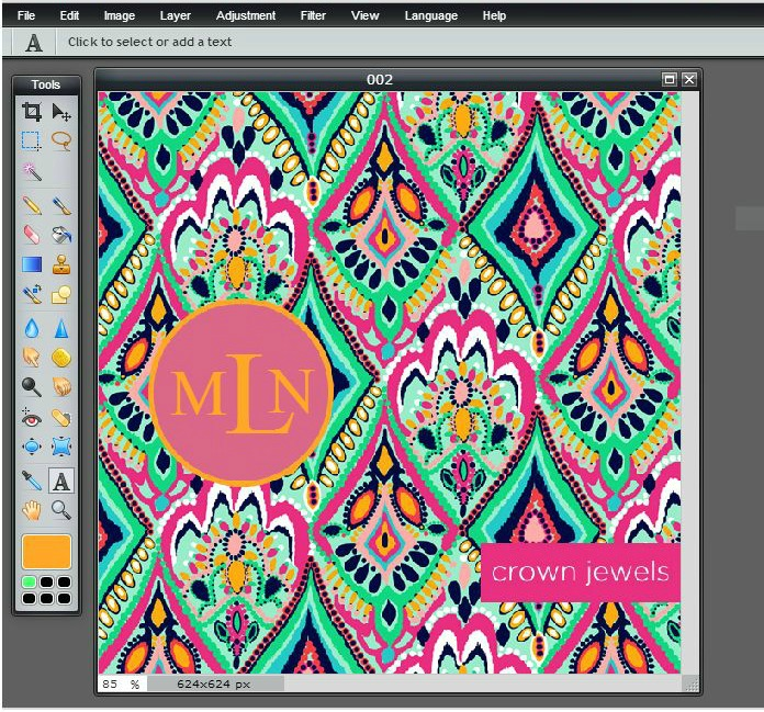 Beautifully Chaotic Lilly Pulitzer Monogram Wallpaper