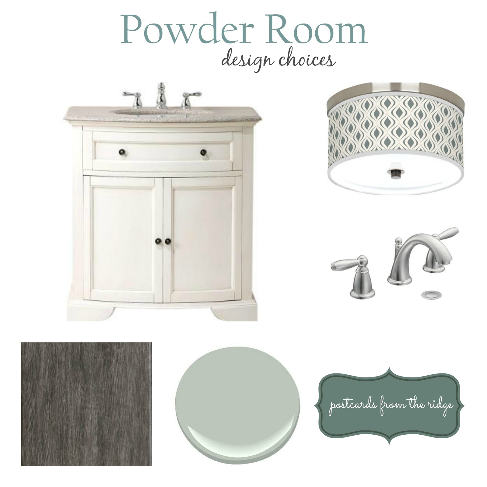Powder Room Design Choices with spa colors and nickel/silver finishes ~ Postcards from the Ridge