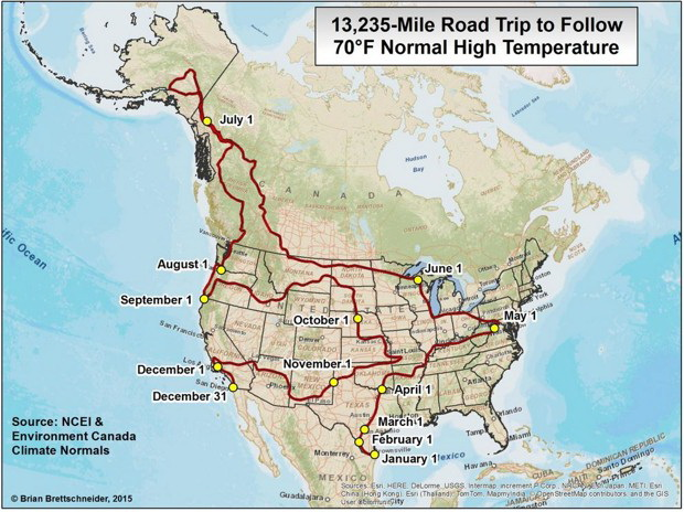 13,235-mile road trip to follow 70°F normal hight temperature