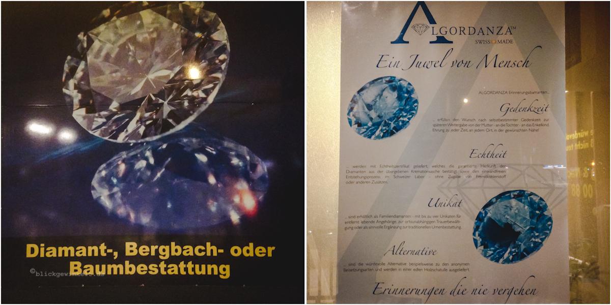 Plakate zur Diamantbestattung