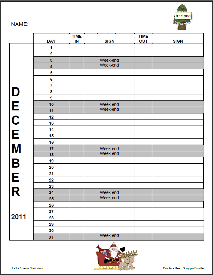 JEANIEB506 Page 31 – Monthly Sign in Sheet Template