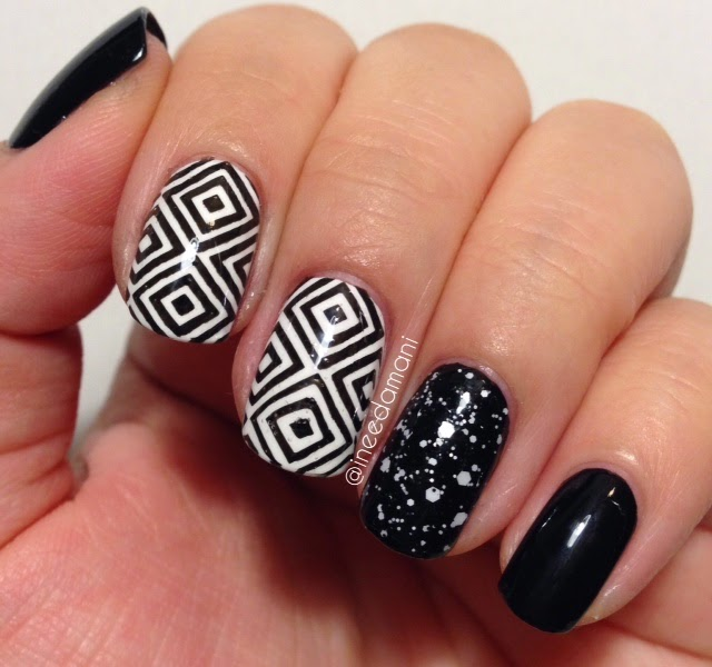 black and white monochrome geometric nails
