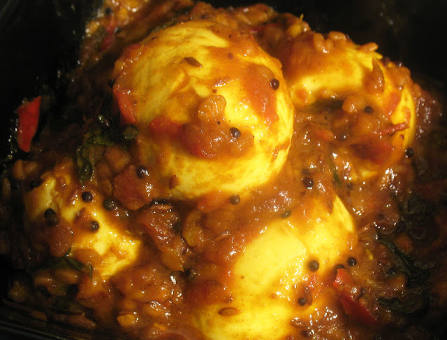 egg curry with urad dal and tamarind